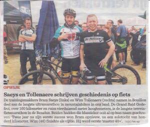Saeys en Tollenaere schrijven geschiedenis op de fiets